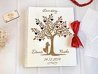 """Фотоальбом """"Love story"""" в деревянной обложке с калькой Белый (листы 31х25 см)"""