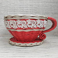 Чашка - цукерниця коралового кольору, фото 1