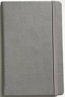 Записна книжка А5 кремовий блок в лінію. Обкладинка штучна шкіра, сіра, на гумці 234/1 0611