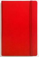 Записна книжка А5 (130х202), кремовий блок в клітинку. Обкладинка штучна шкіра на гумці. Червоний 234/2 0620 гумка