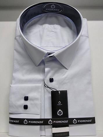 Однотонная рубашка slim на кнопке, фото 2