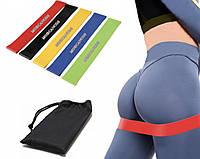 Резинки для фитнеса с упражнениями на ноги и ягодицы набор из 5 штук