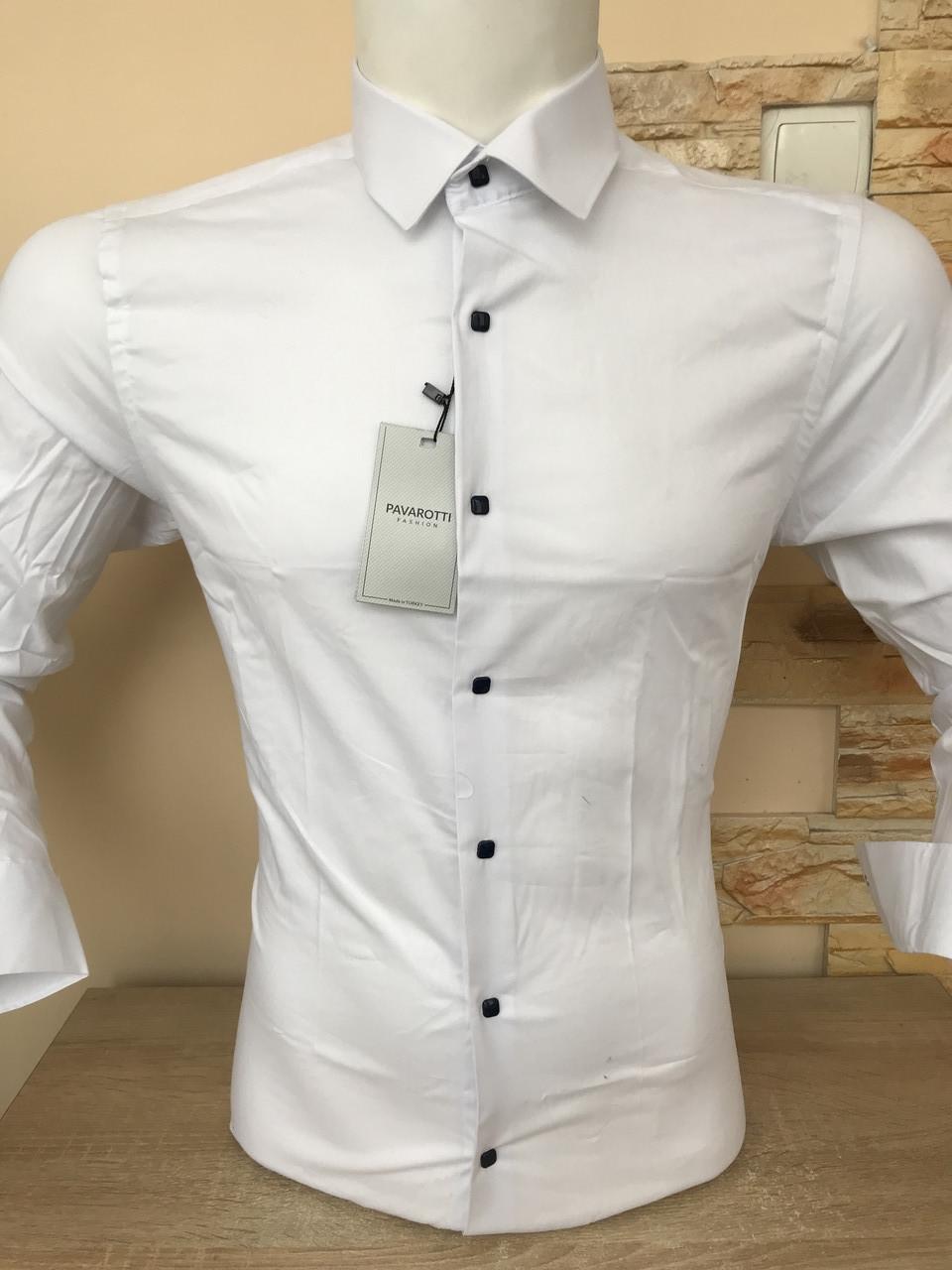 Однотонная рубашка slim на кнопке