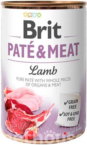 Brit Pate & Meat Dog с ягненком для собак влажный корм 400г