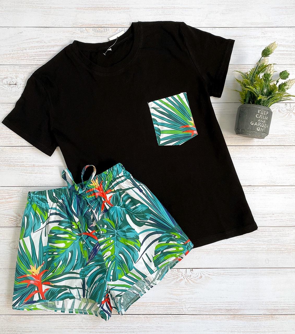 Пижама футболка и шорты L-XL листья зеленые
