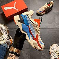Кроссовки мужские  Puma Rs-x Reinvention Cream Red Blue, фото 1