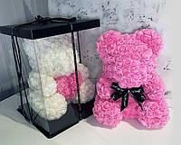 Мишка 3D из искусственных роз 40 см в подарочной коробке подарок девушке