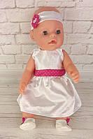 Белое платье с цветным пояском для куклы Baby Born
