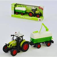 Іграшковий інерційний трактор з причепом 900A: розмір 39див (світло + звук)
