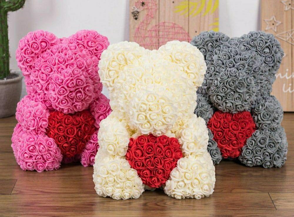 3D мишка из роз 40 см в подарочной коробке лучший подарок цветочный мишка