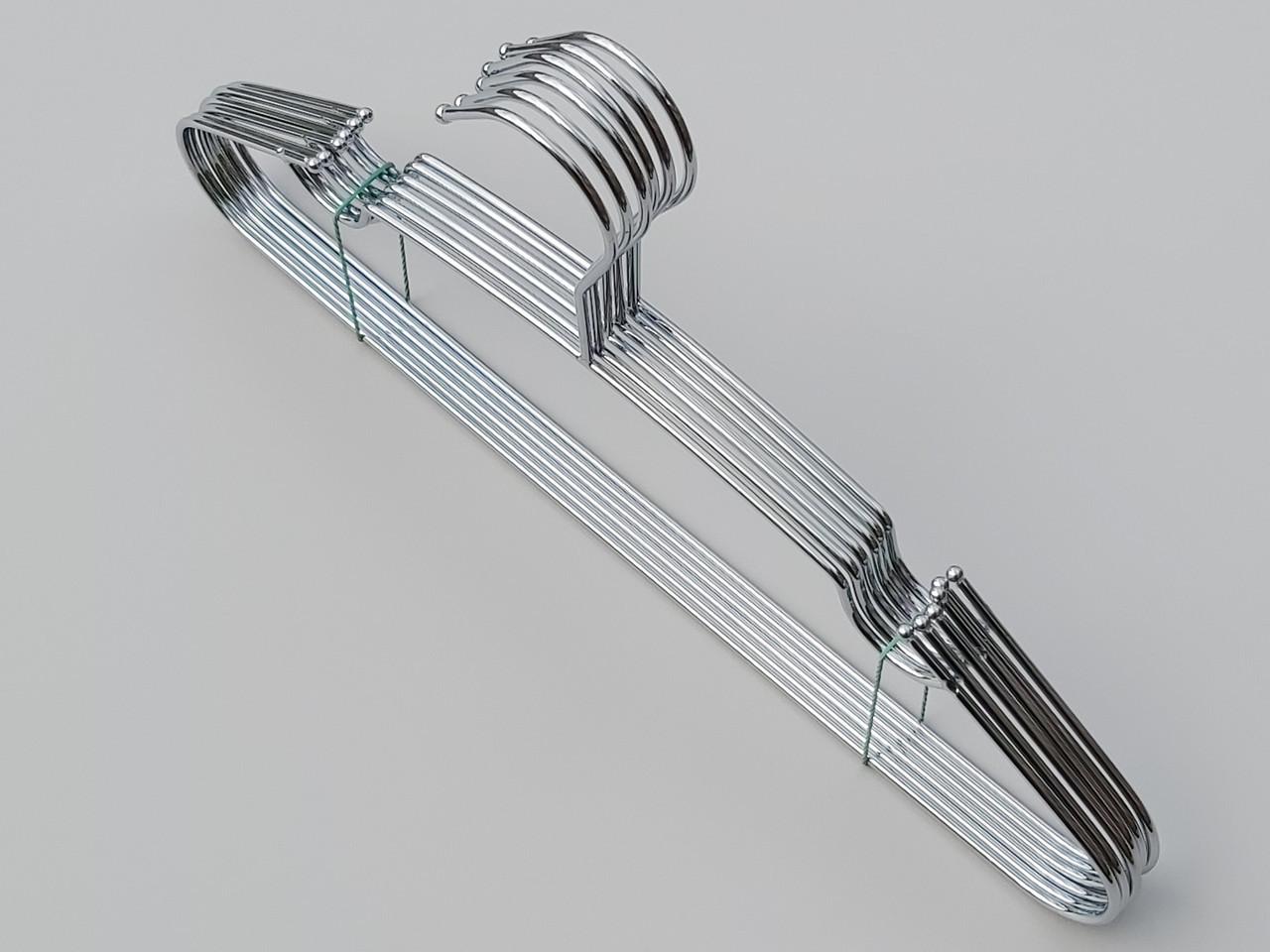 Плечики вешалки тремпеля металлические хромированные  с зацепами, длина 40 см, в упаковке 6 штук