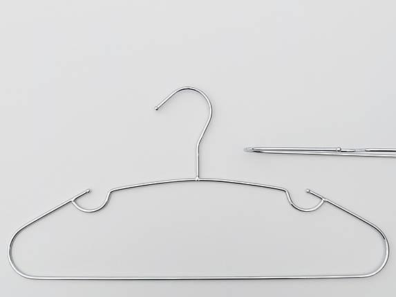 Плечики вешалки тремпеля металлические хромированные  с зацепами, длина 40 см, в упаковке 6 штук, фото 2