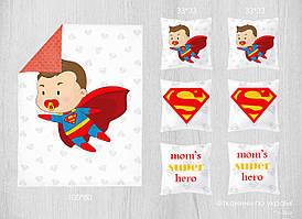 Набор сатиновых панелей Супермен 100*80 + 33*33(6)