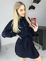 Женское модное  платье- туника из вельвета с накладными карманами и спущенными рукавами