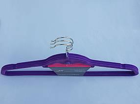 Плечики вешалки тремпеля флокированные (бархатные, велюровые) сиреневого цвета,длина 45 см, в упаковке 3 штуки, фото 2