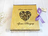 """Фотоальбом в деревянной обложке с гравировкой """"Любов ніколи не перестає""""  (листы 22х17 см)  (№6) (калужница), фото 7"""