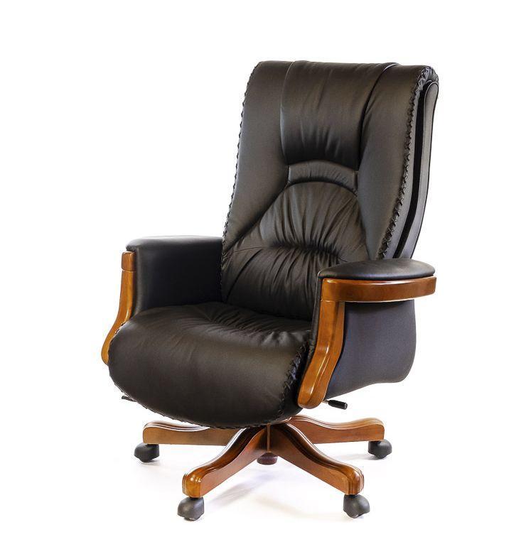 Кресло офисное кожаное АКЛАС Морион ЕХ D-TILT чёрное