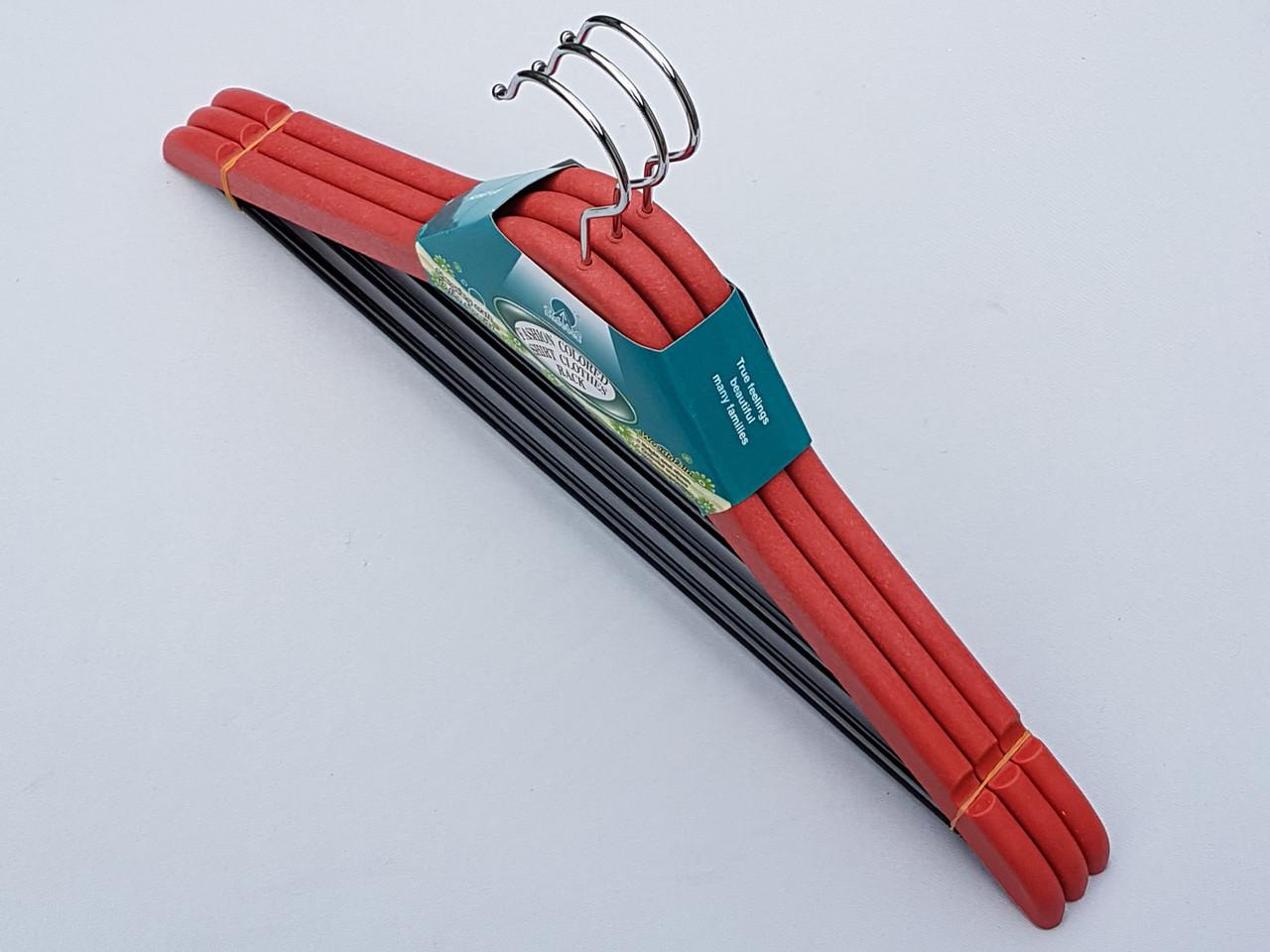 Плечики вешалки тремпеля мощный пластик красного цвета, длина 44 см, в упаковке 3 штуки