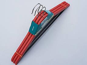 Плечики вешалки тремпеля мощный пластик красного цвета, длина 44 см, в упаковке 3 штуки, фото 3