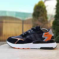 Кроссовки мужские Adidas Nite Jogger чёрные с оранжевым, фото 1