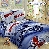 Постельное белье детское подростковое 150х215 поплин TAG - Motocross Мотокросс