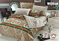 Постельный комплект двухспальный 175х215 хлопок Гучи бежевый