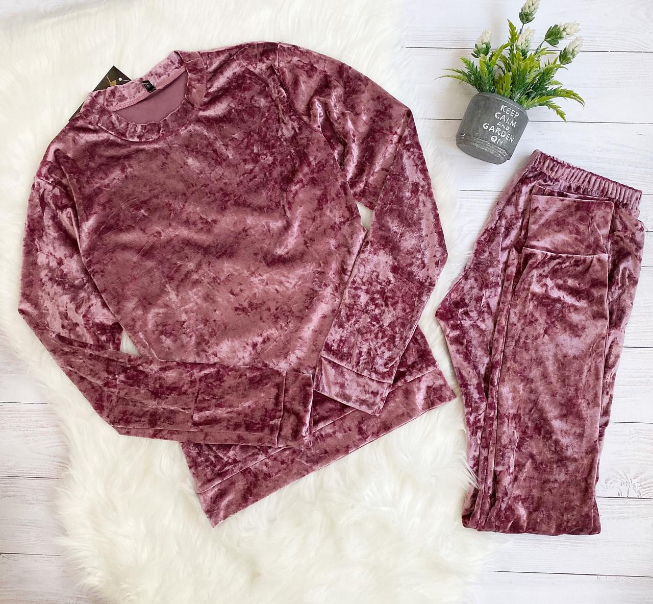 Женский домашний комплект кофта и штаны M темно розовый