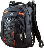 Молодежный подростковый рюкзак с ортопедической спинкой черный с usb портом для парня Winner one для