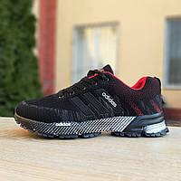 Кроссовки мужские Adidas Marathon черные с красным, фото 1