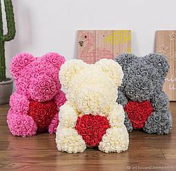 Мишка из 3D роз высотой 40см Цветочный Медвежонок для любимой