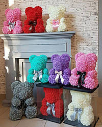 Мишка из 3D роз высотой 25см в подарочной коробке Цветочный Медвежонок для любимой