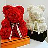 Мишка из 3D роз высотой 25см в подарочной коробке Цветочный Медвежонок для любимой, фото 2