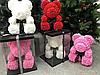 Мишка из 3D роз высотой 25см в подарочной коробке Цветочный Медвежонок для любимой, фото 3