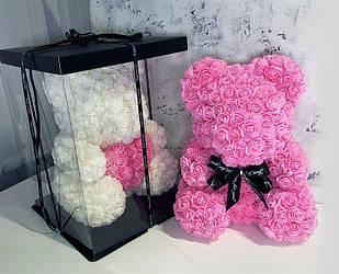 Мишка из роз 40 см в коробке подарок для девушки