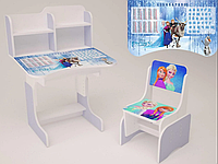 Детская парта-стол растишка со стульчик высокая для девочки от 3 х лет 028-2 Frozen фиолетовая