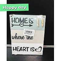Табличка для записок с прищепками Home is