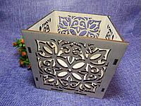 Деревянный ящик-кашпо, коробка для цветов 13×13×13см