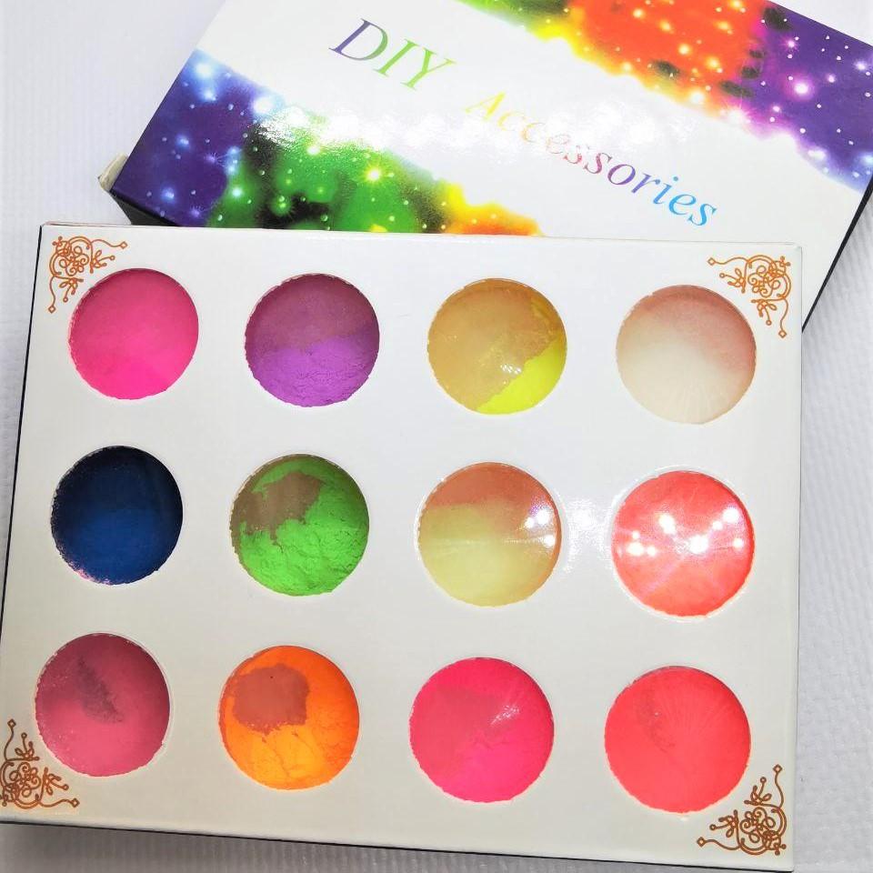 Сяюча пудра для слайма, упаковка 12 кольорів