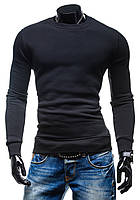 Утепленная черная мужская толстовка без капюшона