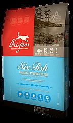 Сухой корм Orijen 6 Fresh Fish Dog 38/18 гипоаллергенный для взрослых собак всех пород 2 кг