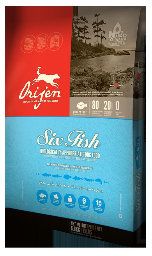 Сухой корм Orijen 6 Fresh Fish Dog 38/18 гипоаллергенный для взрослых собак всех пород 11.4 кг