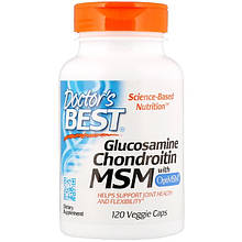 "Глюкозамин, хондроитин и МСМ Doctor's Best ""Glucosamine, Chondroitin, MSM with OptiMSM"" (120 капсул)"