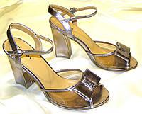 Яркие бронзовые босоножки 39 размер, фото 1