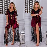 Шикарный бархатный домашний комплект с кружевом халат и пижама размер 50 52 54 56, фото 1