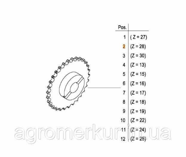 Зірочка Z-28 AC820799 Kverneland