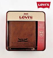 Бумажник/портмоне Levi's® /коричневая кожа/ защита RFID от хакеров / Горизонтальный 2-х складный / из США
