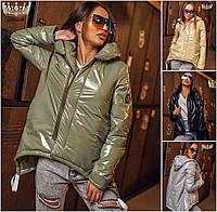 Женская блестящая куртка удлиненная сзади 2360