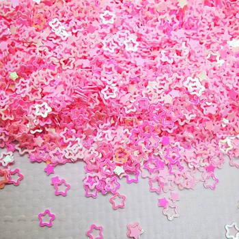 Глиттерные звёздочки нежно - розовые от 5г ;