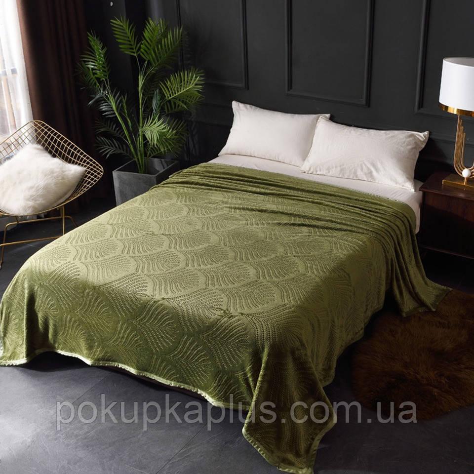 Плед покрывало Ракушка Бамбук 200х220 Зеленый