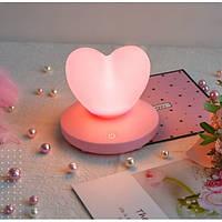 Силиконовый LED светильник-ночник Сердце. Розовый до Дня святого Валентина